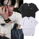 人気新作★ナイキ/NIKE ロゴTシャツ 黒×白 無地 半袖テイーシャツ 男女兼用