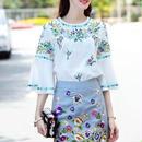 [セット]♪花刺繍ブラウス&スカート セット ホワイト&ブルーグレー(S,M,L,XL)♪