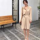 [ドレス ミディアム]♪ワードラウンド ネックフリフリドレス(2color)(1size)♪