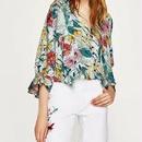 [シャツ 7分袖]♪春の花 カラフル リボン ネック シャツ(S,M,L)♪