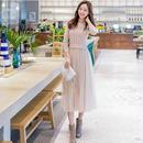 [ドレス ミディアム]♪ピンクベージュニット&シフォンドレス(1color)(3size)♪