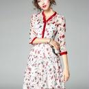 [ドレス 半袖]♪Vネック 花柄 シースルー ドレス(2color)(S,M,L,XL)♪
