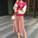 [セットアップ]♪ピンクサーカス ベルベットトップ&プリーツスカートセット(1color)(1size)♪