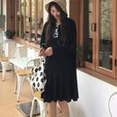 [ドレス ミディアム]♪オールブラック ブラックフードワンピース(1color)(1size)♪
