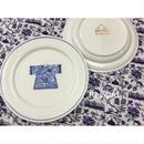 【香港☆粵東磁廠】(手書き)藍一色・宮廷服柄のお皿  / Yuet Tung China Works