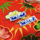 【香港☆金魚柄】藍色 箸置き 2客=1set  / デイリーユースのお揃い食器
