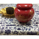 【上海☆®君樽】紅色の陶器製茶筒  / 金色の牡丹