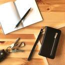 手帳型 iPhone8 8plus 7 7plus 6/6splus ケース レザー ファスナー付きポケット ブラック