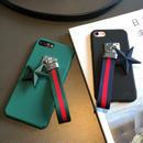 [KS026]★ iPhone 6 / 6Plus / 7 / 7Plus ★ シェル型 ケース ブラック グリーン マット な 星 の チャーム & アームベルト iPhoneケース