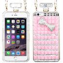 【EU047】★ iPhone6 ★ 香水ボトル ピンクリボンケース(ピンク)斜め掛けストラップ きれい キュート ラブリー かわいい