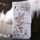 【TH028】★ iPhone 5 / 5s / 6 ★ きらきら 妖精 モチーフ 手帳 型 ケース ( ホワイト ピンク ) ゴージャス おしゃれ かわいい ストーン