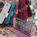[KK081]iPhone 5/5S 手帳スタンド式 クラウンモチーフ付 (6色 ブラック/ホワイト/ブルー/ピンク/ローズピンク/パープル)