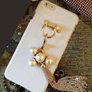【EU039】★ iPhone5/5s/6/6plus ★ ゴールドタッセル フィンガーリング付 ハードケース( ホワイト/ ブラック )エレガント きれい かわいい スワロ