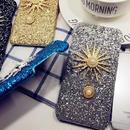 【SI006】★ iPhone 6 / 6s / 6Plus / 6sPlus / 7 / 7Plus ★ シェル型 ケース ( ブルー ブラック シルバー ゴールド ) キラキラ 太陽 モチーフ