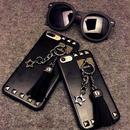 【SI014】★ iPhone 6 / 6s / 6Plus / 6sPlus / 7 / 7Plus ★ シェル型 ケース チェーン&スタッズ ストリート ブラック レザー風 おしゃれ 大人 人気