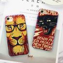 [KS096] ★ iPhone 6 / 6Plus / 7 / 7Plus ★ シェル型 ケース イラスト ライオン ジャガー アニマル 黒ぶち眼鏡 かっこいい