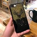 [KS179] ★ iPhone 6 / 6Plus / 7 / 7Plus ★シェル型 ケース シカ 頭 モチーフ きらきら ブラック & ゴールド ラグジュアリー iPhone ケース