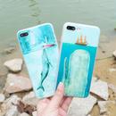 [NW181] ★ iPhone 6 / 6Plus / 7 / 7Plus / 8 / 8Plus ★シェルカバー ケース オーシャン クジラ イラスト 海 ネイチャー ブルー