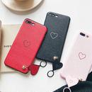 [MD291] ★ iPhone 6 / 6s / 6Plus / 6sPlus / 7 / 7Plus / 8 / 8Plus / X ★ シェルカバー ケース ハート リング ストラップ