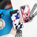[MD112] ★ iPhone 6 / 6s / 6Plus / 6sPlus / 7 / 7Plus / 8 / 8Plus / X ★ シェルカバー ケース 幾何学模様 ストラップ 男女兼用