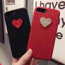 [KS035]★ iPhone 6 / 6Plus / 7 / 7Plus ★ シェル型 ケース ブラック レッド シンプル かわいい きらきら ハート グリッター iPhoneケース