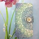 【MT043】【iPhoneSE】【iPhone5/5s】ロータス柄 ブルー アンティークフラワー付 手帳型ケース  レトロ 可愛い