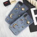 [MD320]★ iPhone 6 / 6s /  7 / 7Plus / 8 / 8Plus / X ★ シェルカバー ケース アート 宇宙 ゴールド 星 惑星
