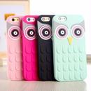 [KS100] ★ iPhone 6 / 6Plus / 7 / 7Plus ★ シェル型 シリコンケース ローズ ピンク ブラック グリーン キュート フクロウ OWL ユニーク 顔
