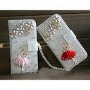 【EU036】★ iPhone6/6plus ★ バレリーナ 手帳型 白( ホワイト/ ピンク / ブラック / レッド)きれい かわいい バレエ チュチュ キラキラ パール