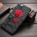 【SI017】★iPhone 6 / 6Plus / 7 / 7Plus★シェル型 ケース ( ピンク ブラウン ブラック グレー ネイビー ) レトロなバラ 刺繍 おしゃれ