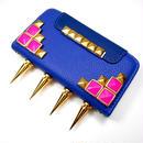 [YS037] iPhone5 /5s ケース ハード ゴールド スパイク付 ピンク スタッズ 手帳 カード ブルー 青 財布 クール パンク モード