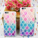 【HY020】★ iPhone 6 / iPhone 6 plus ★  iPhoneケース ( レインボーカラー ) モロッカン パステルカラー おしゃれ かわいい 大人 シンプル