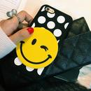 【HY002】★ iPhone 6 / 6 plus ★ ビッグスマイル  ( ブラック ) ハードケース 水玉 おしゃれ かわいい キュート 大人 シンプル