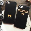[KS009]★ iPhone 6 / 6Plus / 7 / 7Plus ★ シェル型 ケース ブラック&ゴールド シックなリボン iPhoneケース