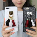 [KS022]★ iPhone 6 / 6Plus / 7 / 7Plus ★ シェル型 ケース ( ブラック ホワイト ) 3色 タッセル クロコダイル 模様 iPhoneケース