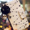 [MD105] ★ iPhone SE / 5 / 5s /6 / 6s / 6Plus / 6sPlus / 7 / 7Plus / 8 / 8Plus ★ 手帳型 ケース モノクロ バラ バッグ型