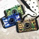 【HY047】★ iPhone 6 / iPhone 6 plus ★ iPhoneケース ( ブルー ブラウン グリーン ) カムフラージュ 迷彩柄  カメラ型 おしゃれ 大人 シンプル