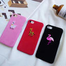 [KS073] ★ iPhone 6 / 6Plus / 7 / 7Plus ★ シェル型 ケース ブラック レッド ピンク 刺繍 アニマル かわいい プチ フラミンゴ アルパカ キリン