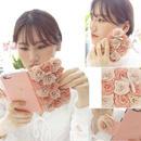 [KS016]★ iPhone 6 / 6Plus / 7 / 7Plus ★ 手帳型 ケース ピンク 3D ローズ フラワー お花 ぎっしり リボン & パール チェーン 付  iPhoneケース