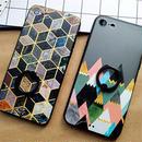 【AO137】★ iPhone6 / 6Plus / 6s / 6sPlus / 7 / 7Plus ★ 幾何学模様 ブラックリング付 iPhoneケース
