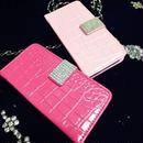 [KK085]iPhone5/5sケース クロコダイル型押し手帳タイプ(ホワイト/ブラック/ピンク/ホットピンク)