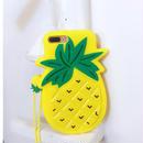 [NW121] ★ iPhone 6 / 6Plus / 7 / 7Plus ★シェルカバー ケース パイナップル お揃い ロング ネック ストラップ付き