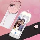[NW198]  ★ iPhone 6 / 6s / 6Plus / 6sPlus / 7 / 7Plus / 8 / 8Plus ★ シェルカバー ケース フラワー LED セルフィー ライト