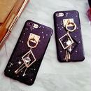 [KS040]★ iPhone 6 / 6Plus / 7 / 7Plus ★ シェル型 ケース ブラック おしゃれ チャーム シック  星 の ホロスコープ iPhoneケース