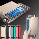 【AO032】★ iPhoneSE / 5 / 5s / 6 / 6Plus / 6s / 6sPlus / 7 / 7Plus ★ 衝撃に強い カード収納付き メタル風ケース ブラック