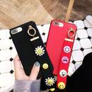 [KS171] ★ iPhone 6 / 6Plus / 7 / 7Plus ★シェル型 ケース ブラック レッド にこちゃん マーク バリエーション ストラップ iPhone ケース