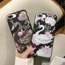 [KS186] ★ iPhone 6 / 6Plus / 7 / 7Plus ★シェル型 ケース 白鳥 黒鳥  スワン ホワイト ブラック デッサン iPhone ケース
