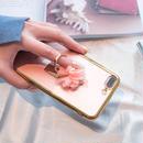 [KS038]★ iPhone 6 / 6Plus / 7 / 7Plus ★ シェル型 ケース ゴールド クリア ピンク フラワー コサージュ & リング スタンド iPhoneケース