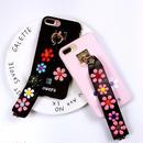 [KS054] ★ iPhone 6 / 6Plus / 7 / 7Plus ★ シェル型 ケース ブラック ピンク カラフル 花柄 スタッズ かわいい ストラップ 付き iPhoneケース
