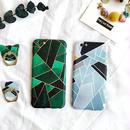 【AO124】★ iPhone6 / 6Plus / 6s / 6sPlus / 7 / 7Plus ★ 幾何学模様 猫型バンカーリング付 iPhoneケース